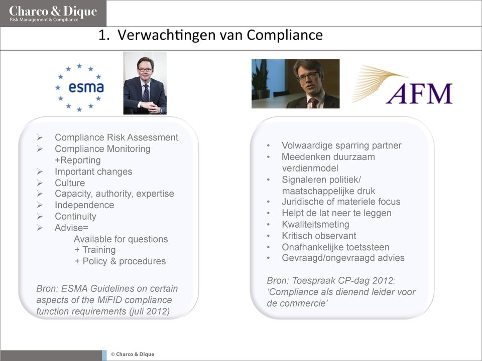 Advise= Available for questions + Training + Policy & procedures Bron: ESMA Guidelines on certain aspects of the MiFID compliance function requirements (juli 2012)