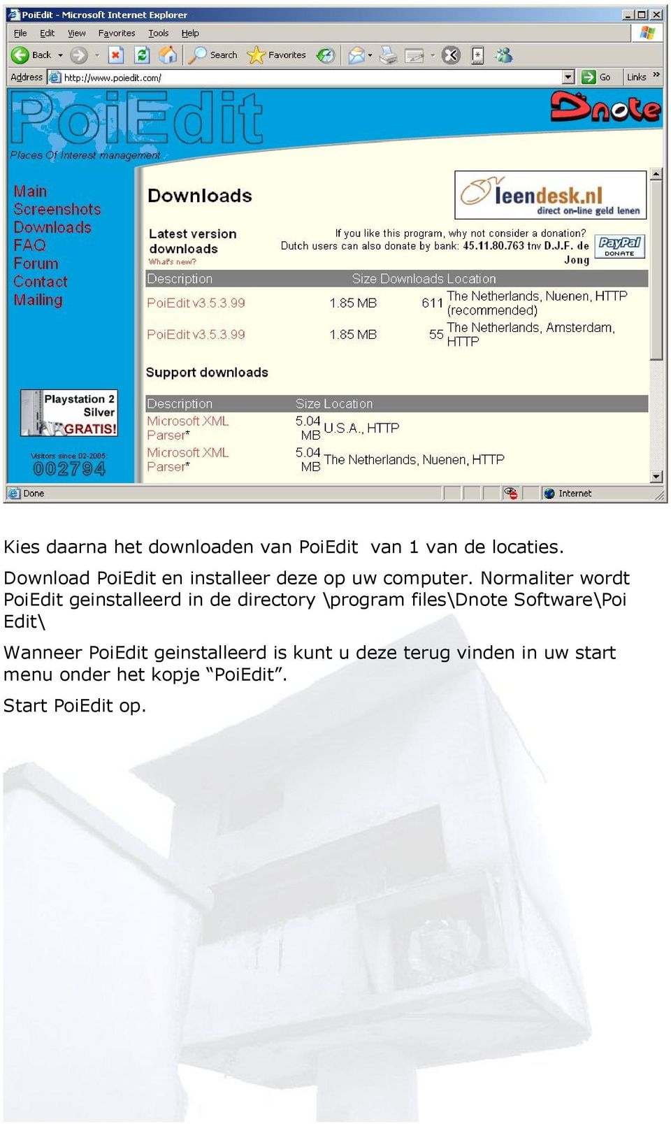 Normaliter wordt PoiEdit geinstalleerd in de directory \program files\dnote