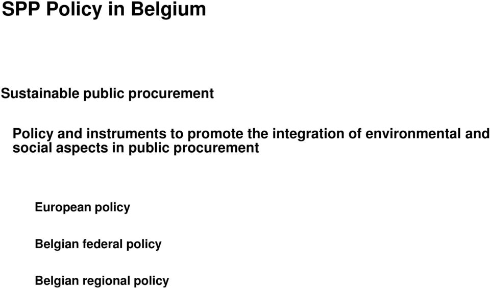 environmental and social aspects in public procurement
