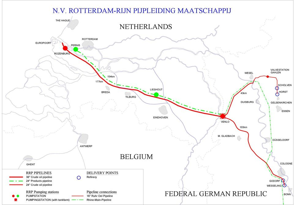 "GLADBACH DÜSSELDORF ANTWERP GHENT BELGIUM COLOGNE RRP PIPELINES 36"" Crude oil pipeline 24"" Products pipeline 24"" Crude oil"