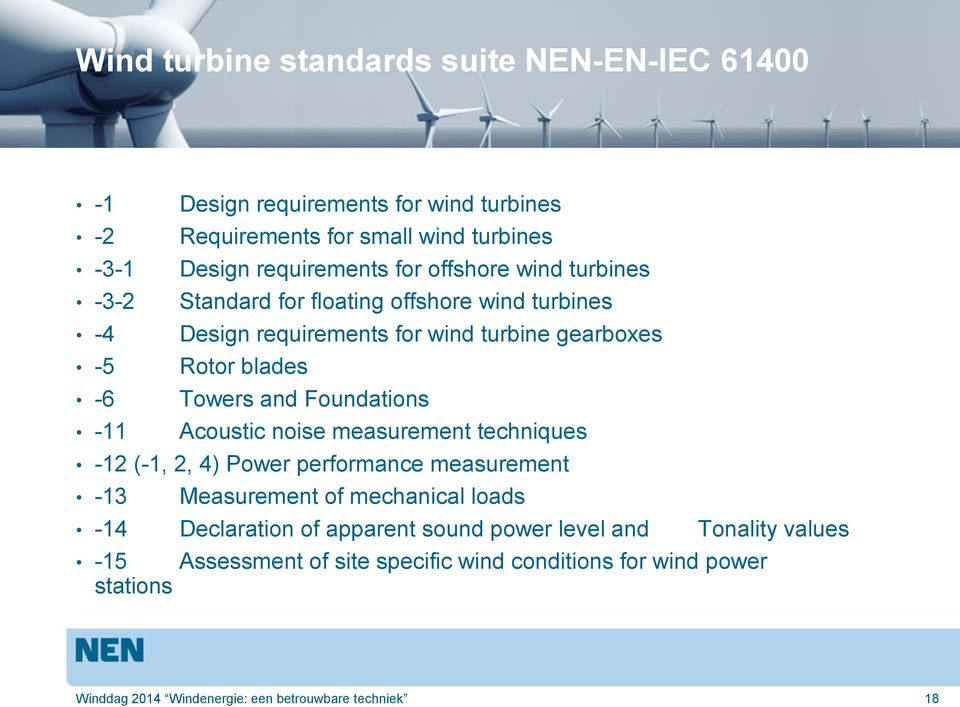 Foundations -11 Acoustic noise measurement techniques -12 (-1, 2, 4) Power performance measurement -13 Measurement of mechanical loads -14 Declaration of