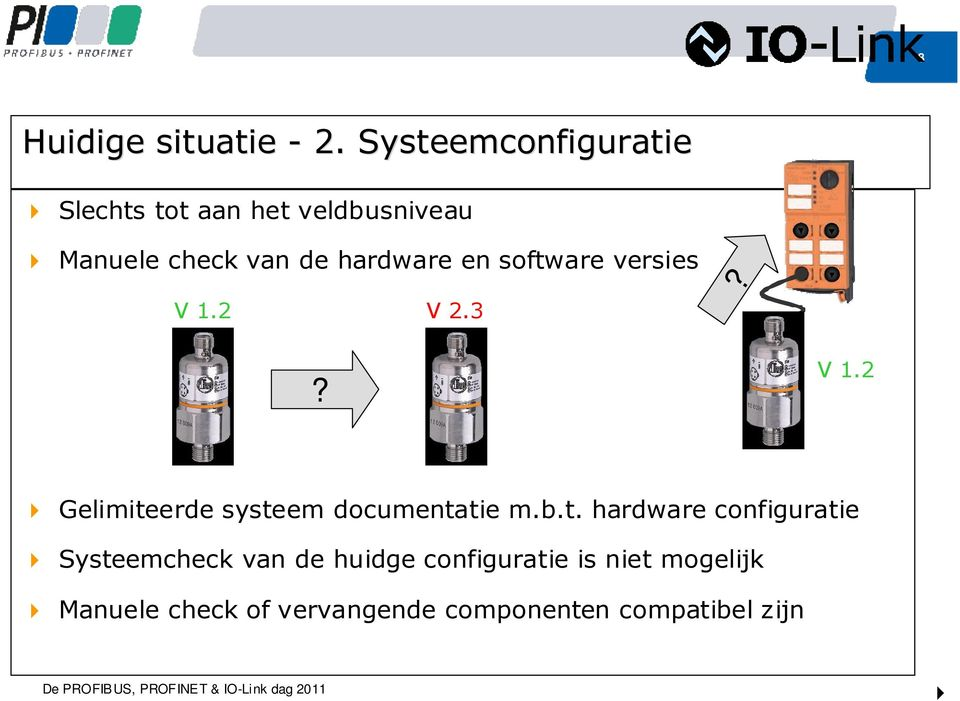 hardware en software versies? V 1.2 V 2.3? V 1.2 Gelimiteerde systeem documentatie m.