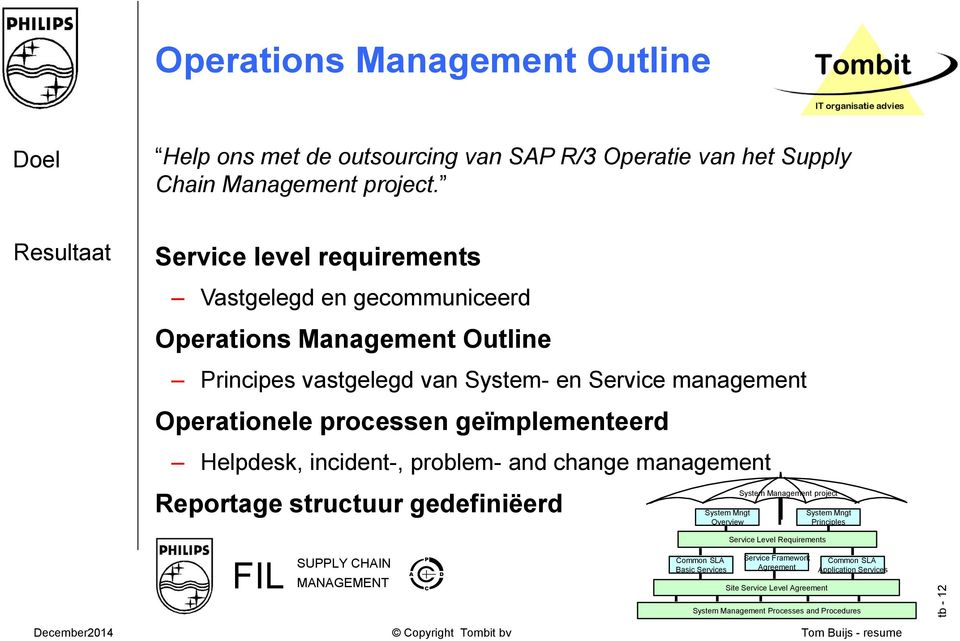 geïmplementeerd Helpdesk, incident-, problem- and change management Reportage structuur gedefiniëerd System Mngt Overview System Management project System Mngt Principles