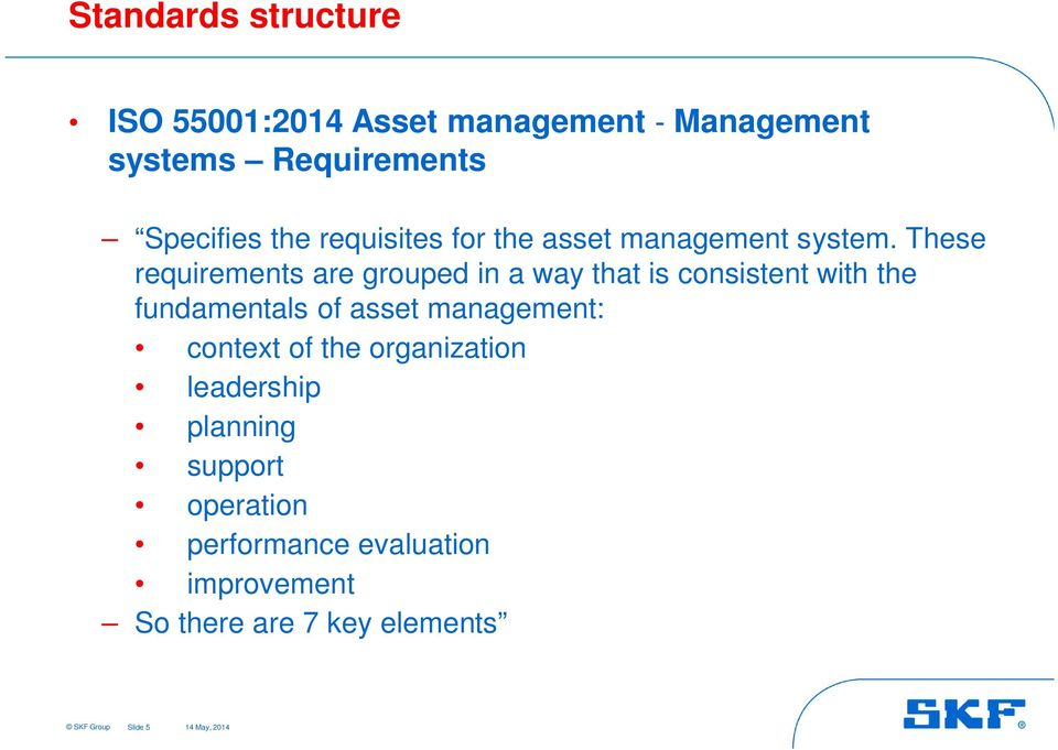 These requirements are grouped in a way that is consistent with the fundamentals of asset