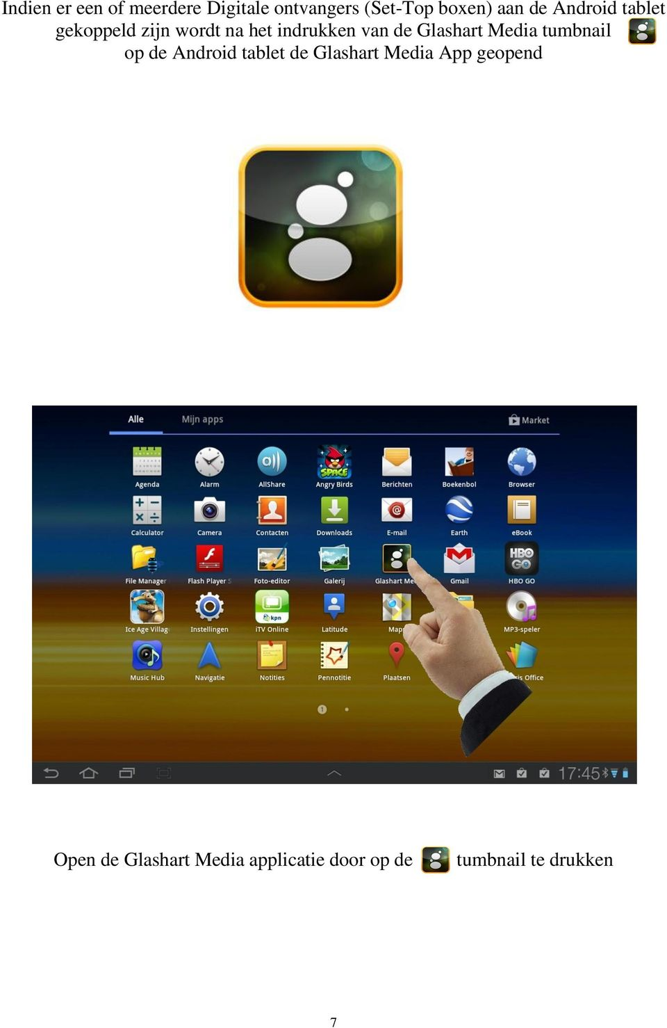 Glashart Media tumbnail op de Android tablet de Glashart Media App