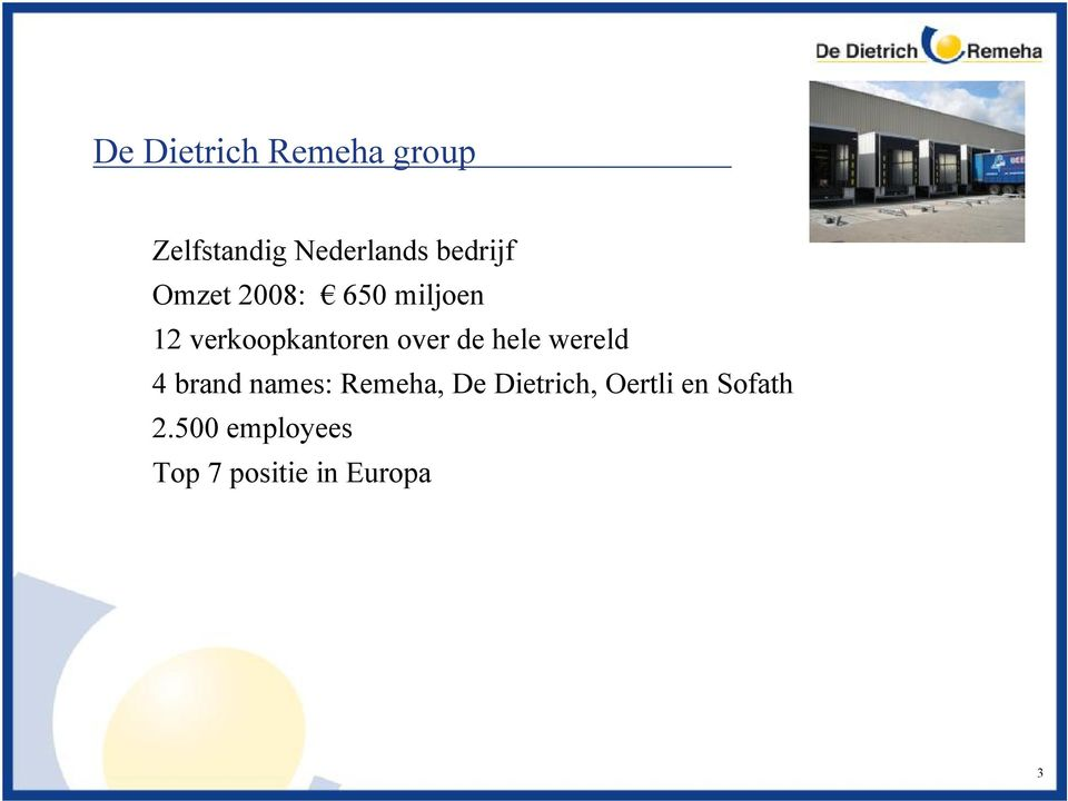 over de hele wereld 4 brand names: Remeha, De