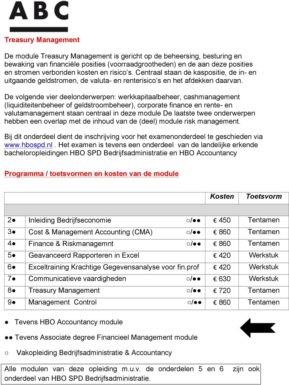 De volgende vier deelonderwerpen: werkkapitaalbeheer, cashmanagement (liquiditeitenbeheer of geldstroombeheer), corporate finance en rente- en valutamanagement staan centraal in deze module De