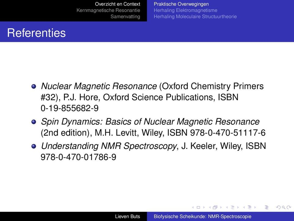 of Nuclear Magnetic Resonance (2nd edition), M.H.