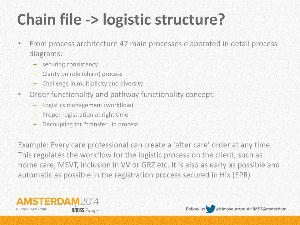 "diversity Order functionality and pathway functionality concept: Logistics management (workflow) Proper registration at right time Decoupling for ""transfer"" in process"