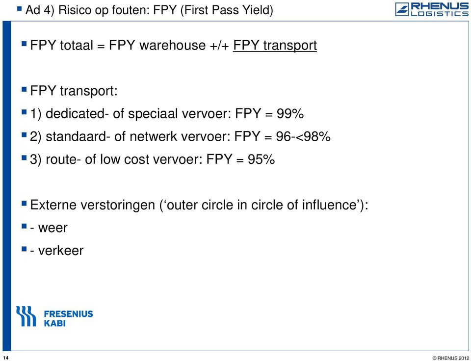 of netwerk vervoer: FPY = 96-<98% 3) route- of low cost vervoer: FPY = 95% Externe