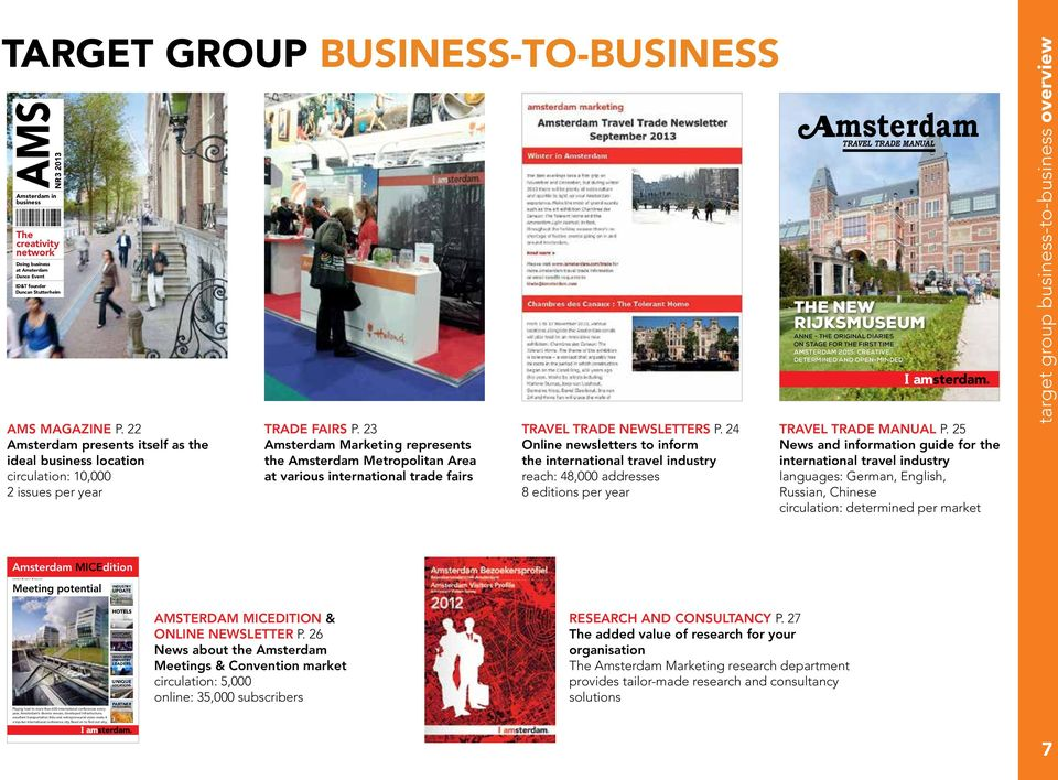 23 Amsterdam Marketing represents the Amsterdam Metropolitan Area at various international trade fairs TRAVEL TRADE NEWSLETTERS P.