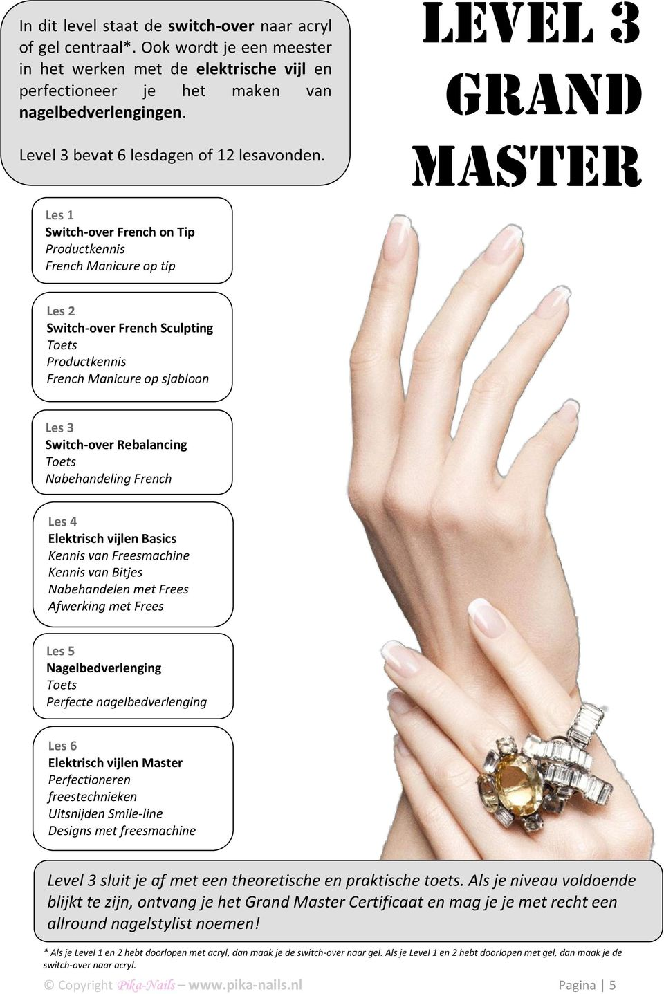 Level 3 Grand Master Switch-over French on Tip Productkennis French Manicure op tip Switch-over French Sculpting Productkennis French Manicure op sjabloon Switch-over Rebalancing Nabehandeling French