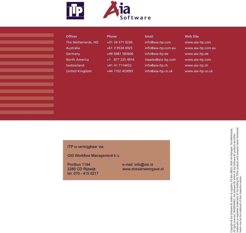 aia-itp.co.uk Copyright Aia Software BV and/or its suppliers, PO Box 38025, 6503 AA Nijmegen, The Netherlands. All rights reserved.