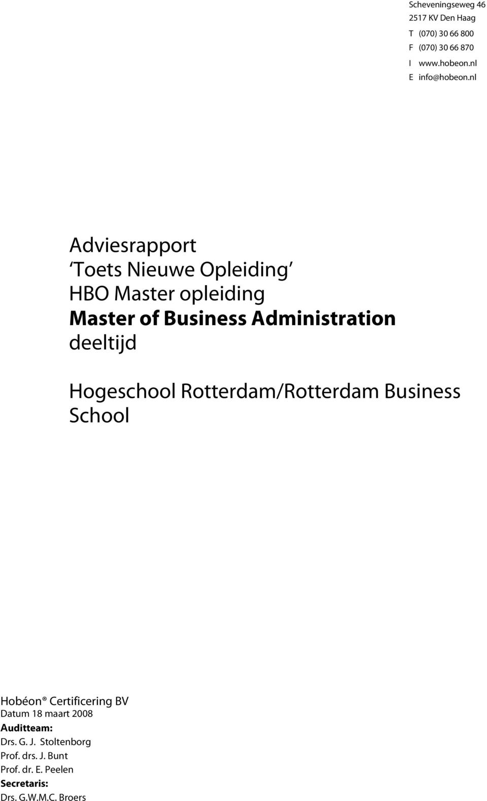 nl Adviesrapport Toets Nieuwe Opleiding HBO Master opleiding Master of Business Administration