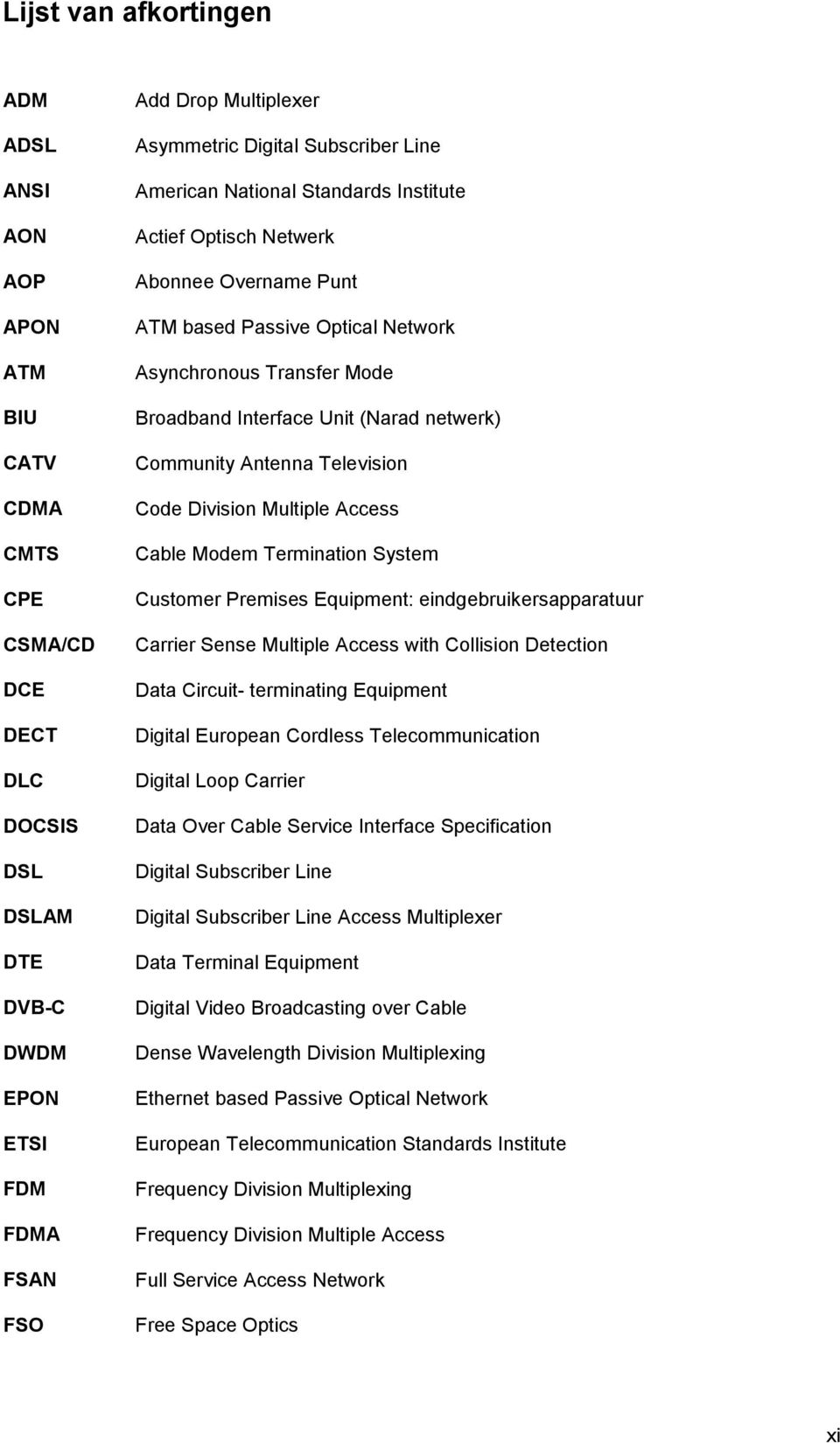 netwerk) Community Antenna Television Code Division Multiple Access Cable Modem Termination System Customer Premises Equipment: eindgebruikersapparatuur Carrier Sense Multiple Access with Collision