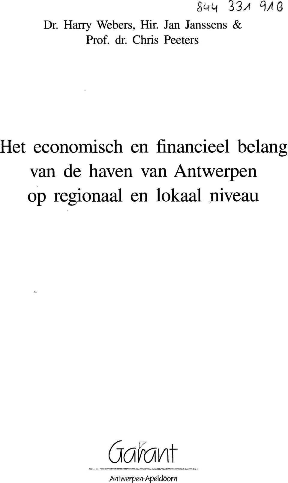 Chris Peeters Het economisch en financieel