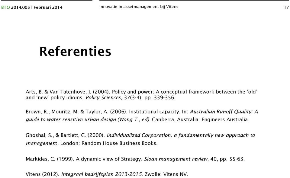 Canberra, Australia: Engineers Australia. Ghoshal, S., & Bartlett, C. (2000). Individualized Corporation, a fundamentally new approach to management.
