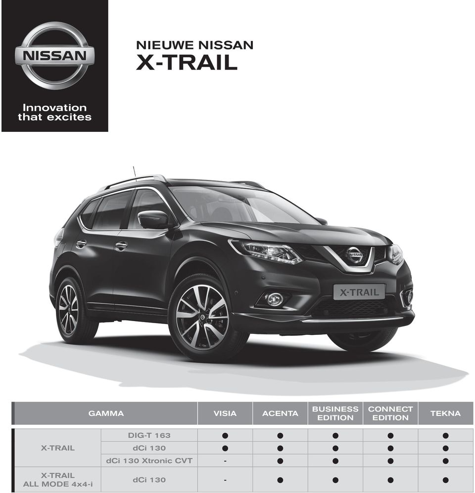 x trail nieuwe nissan connect edition business edition gamma visia acenta tekna dig t 163 dci. Black Bedroom Furniture Sets. Home Design Ideas