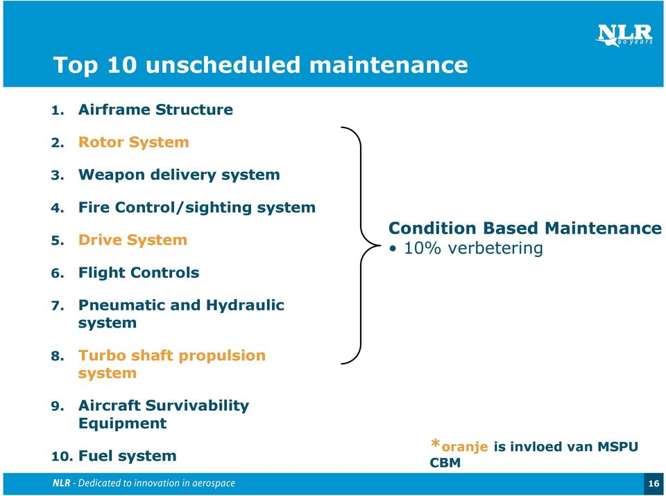 Flight Controls Condition Based Maintenance 10% verbetering 7.
