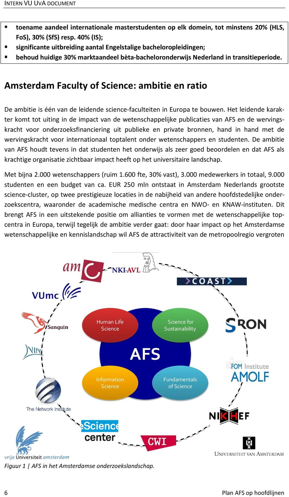 Amsterdam Faculty of Science: ambitie en ratio De ambitie is één van de leidende science-faculteiten in Europa te bouwen.