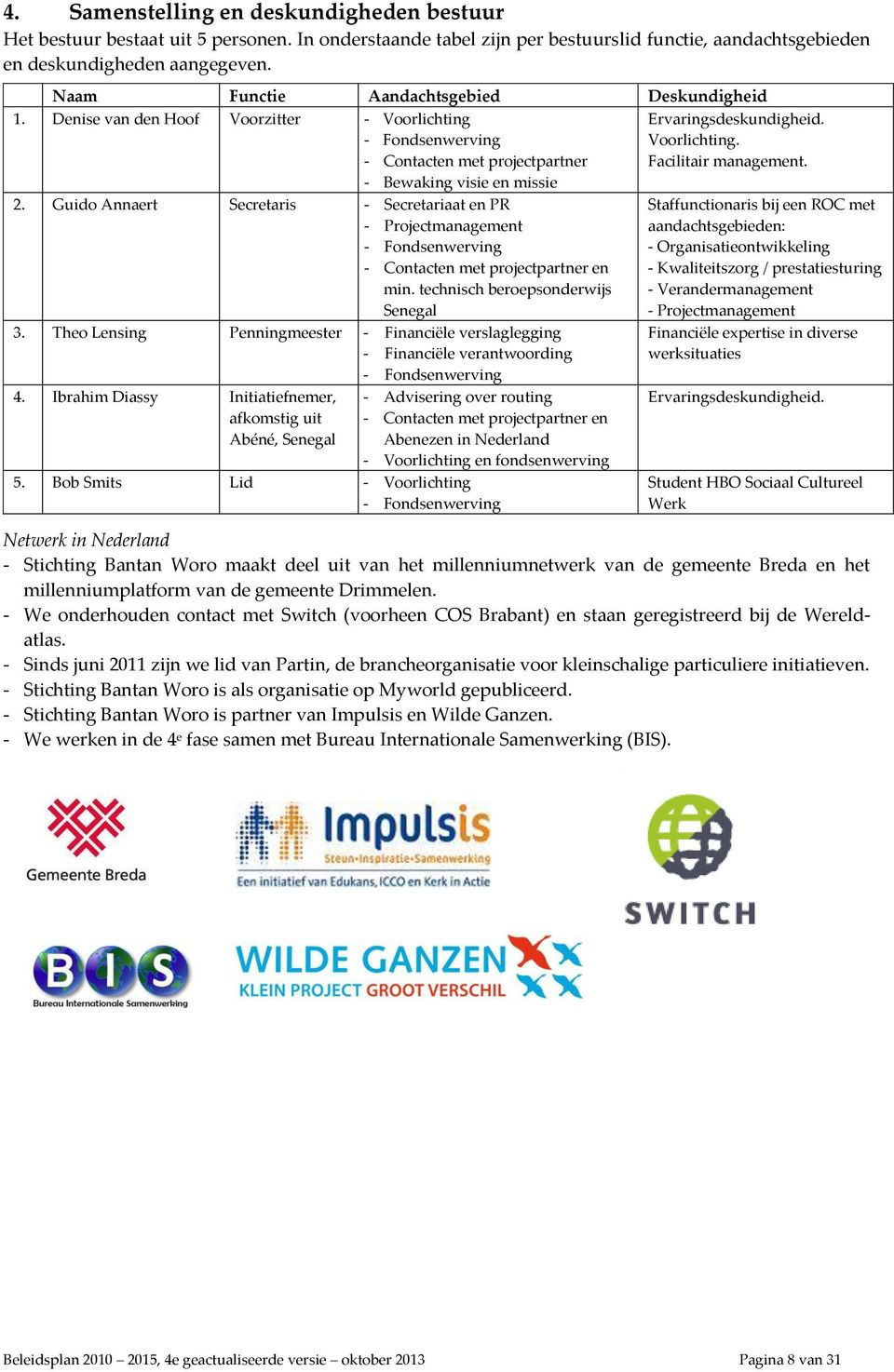Guido Annaert Secretaris - Secretariaat en PR - Projectmanagement - Fondsenwerving - Contacten met projectpartner en min. technisch beroepsonderwijs Senegal 3.
