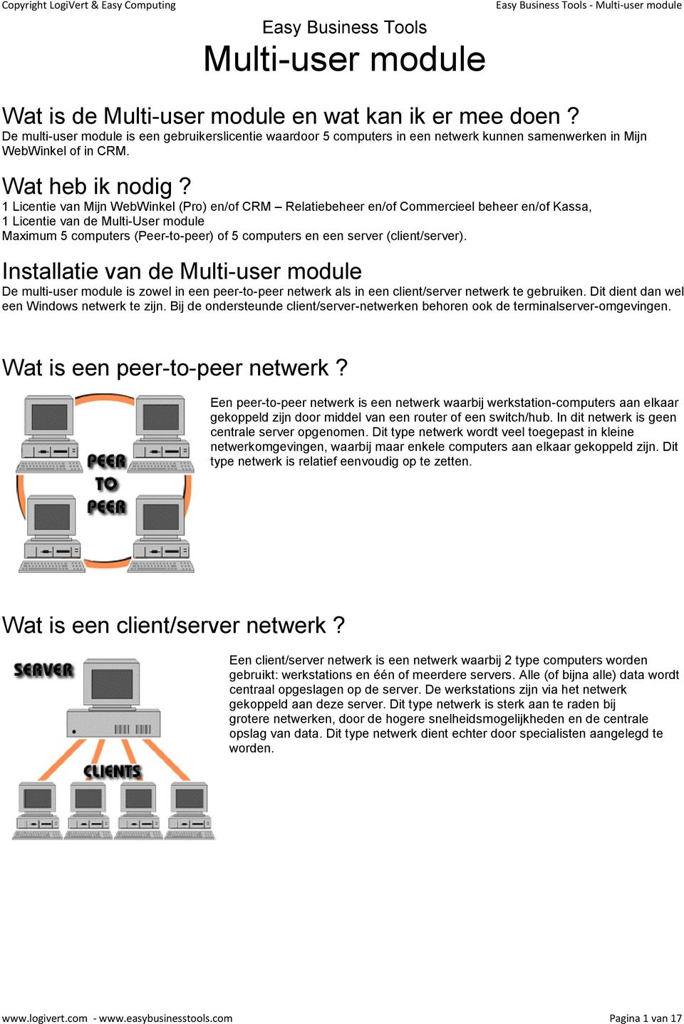 1 Licentie van Mijn WebWinkel (Pro) en/of CRM Relatiebeheer en/of Commercieel beheer en/of Kassa, 1 Licentie van de Multi-User module Maximum 5 computers (Peer-to-peer) of 5 computers en een server