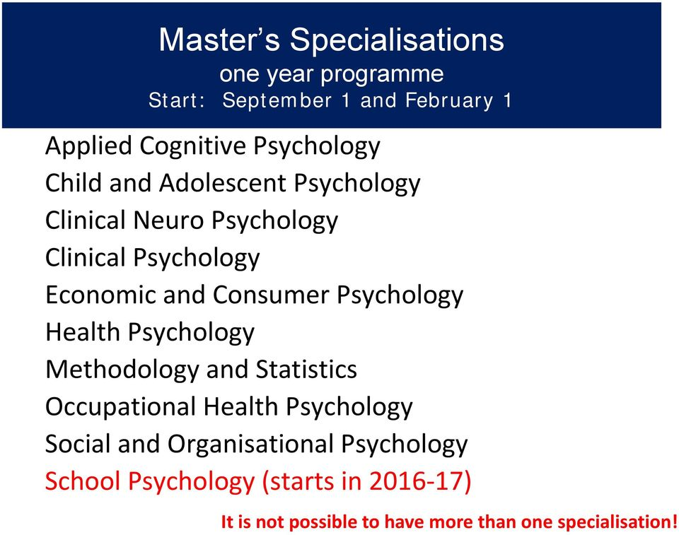 Psychology Health Psychology Methodology and Statistics Occupational Health Psychology Social and
