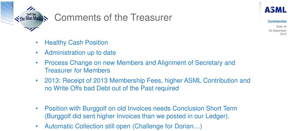 Write Offs bad Debt out of the Past required Slide 18 Position with Burggolf on old Invoices needs Conclusion Short