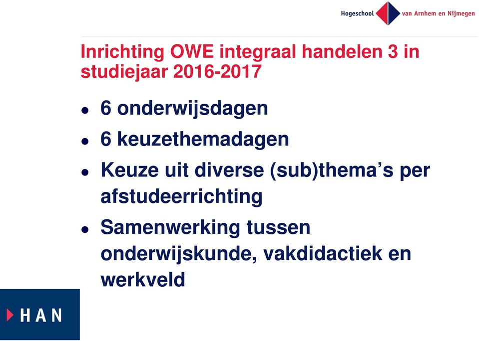 uit diverse (sub)thema s per afstudeerrichting