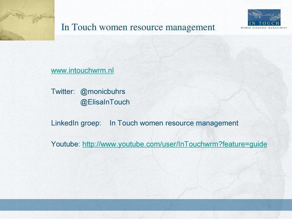 groep: In Touch women resource management