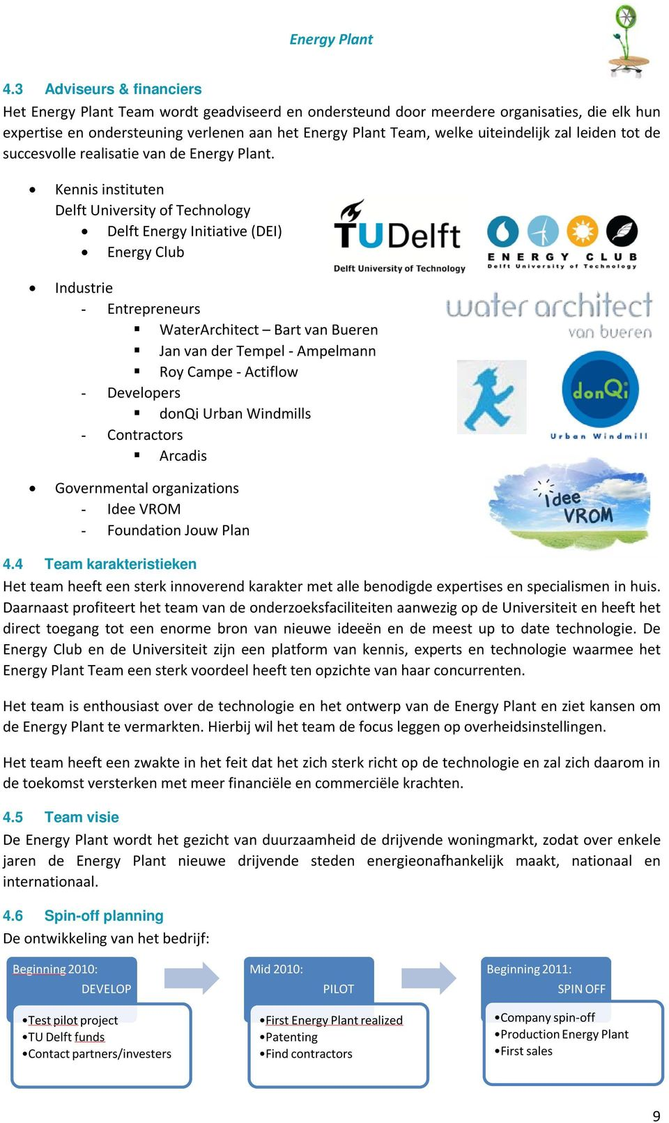Kennis instituten Delft University of Technology Delft Energy Initiative (DEI) Energy Club Industrie - Entrepreneurs WaterArchitect Bart van Bueren Jan van der Tempel - Ampelmann Roy Campe - Actiflow