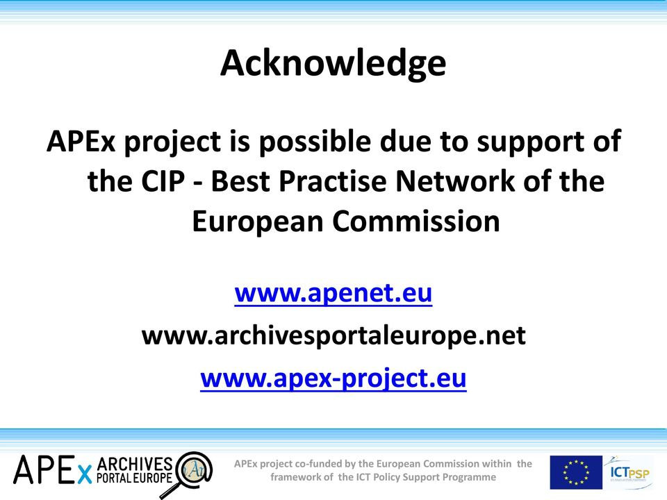 of the European Commission www.apenet.