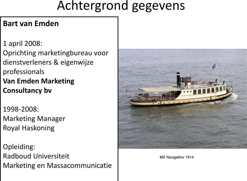 Consultancy bv 1998-2008: Marketing Manager Royal Haskoning Achtergrond
