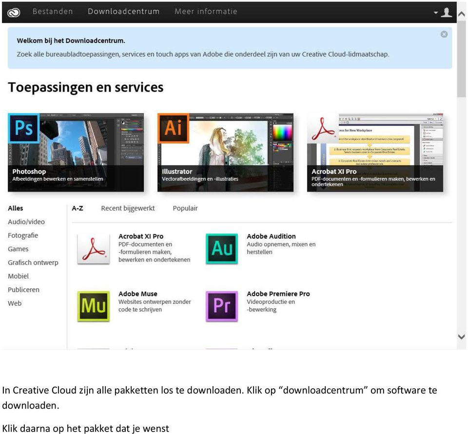Klik op downloadcentrum om software