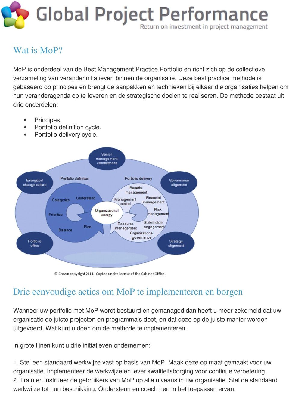 realiseren. De methode bestaat uit drie onderdelen: Principes. Portfolio definition cycle. Portfolio delivery cycle.