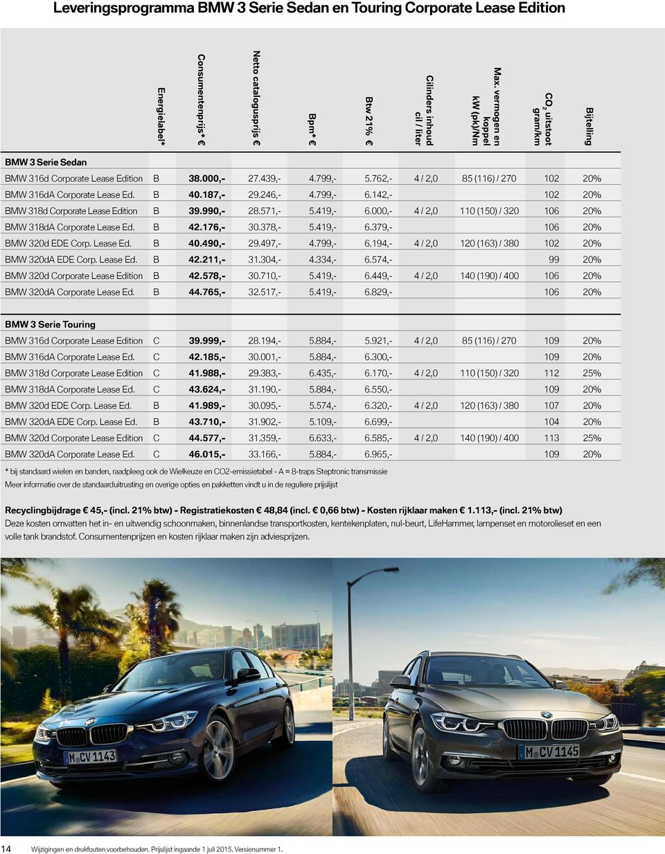 762,- 4 / 2,0 85 (116) / 270 102 20% BMW 316dA Corporate Lease Ed. B 40.187,- 29.246,- 4.799,- 6.142,- 102 20% BMW 318d Corporate Lease Edition B 39.990,- 28.571,- 5.419,- 6.