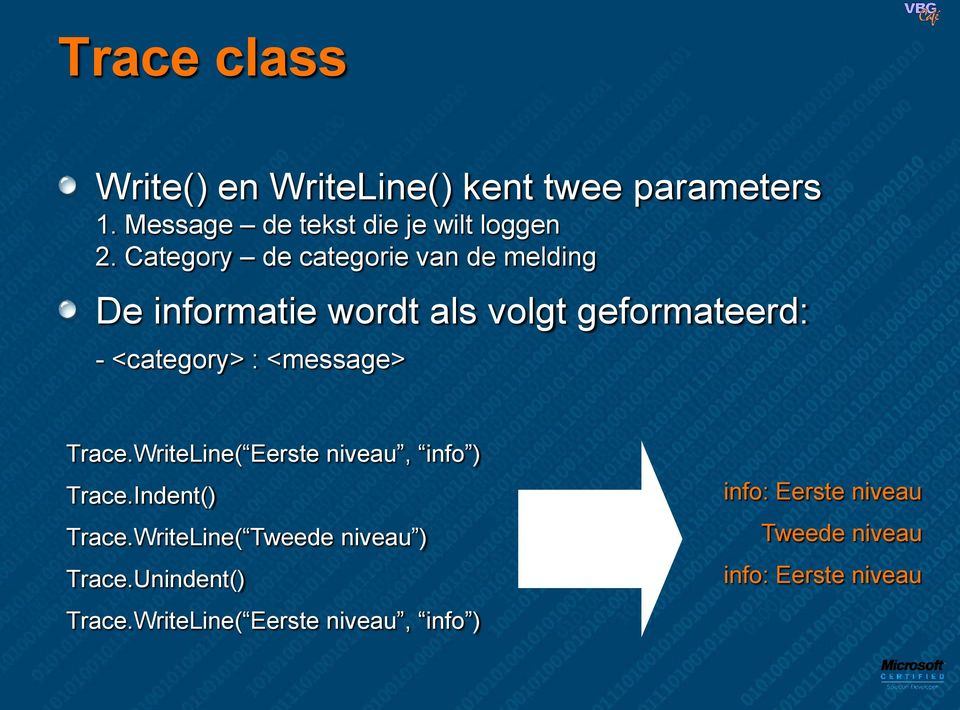 <message> Trace.WriteLine( Eerste niveau, info ) Trace.Indent() Trace.