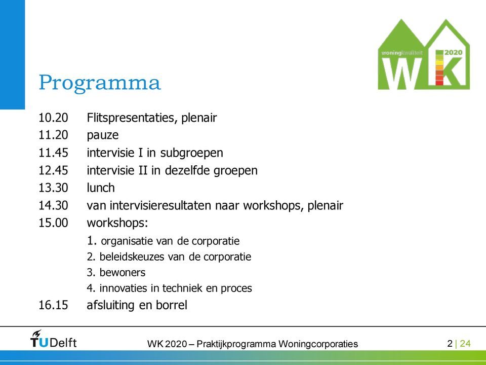 30 van intervisieresultaten naar workshops, plenair 15.00 workshops: 1.