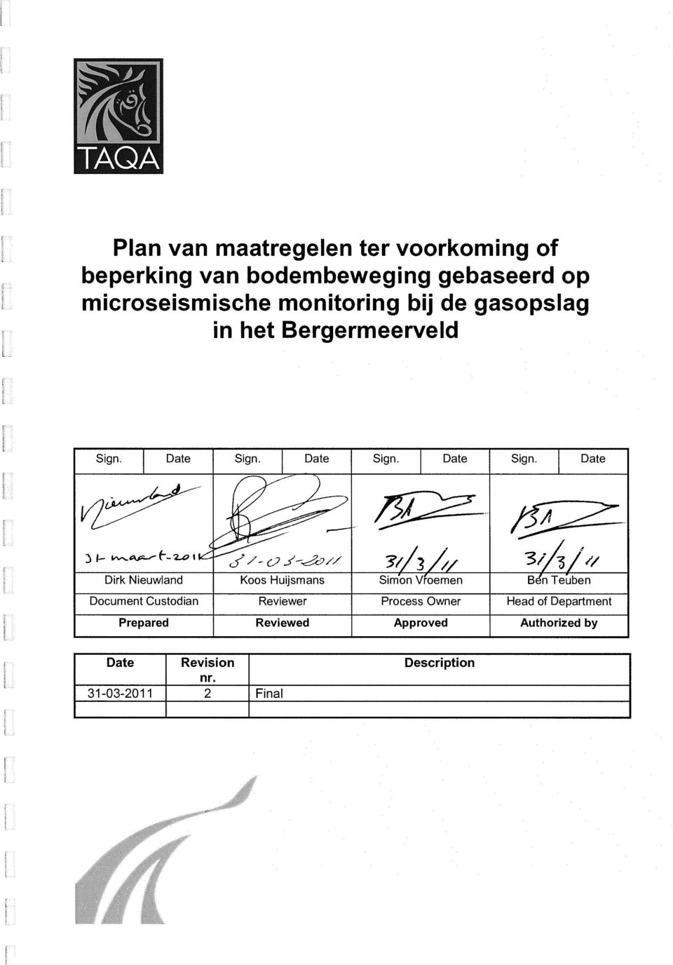 qv _ ------- 14 A - - Dirk Nieuwland Koos Huijsmans Simon Vroemen B n Teuben Document Custodian Reviewer