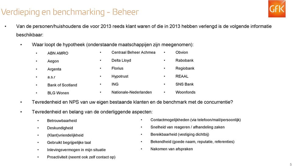 Regiobank a.s.r Hypotrust REAAL Bank of Scotland ING SNS Bank BLG Wonen Nationale-Nederlanden Woonfonds Tevredenheid en NPS van uw eigen bestaande klanten en de benchmark met de concurrentie?