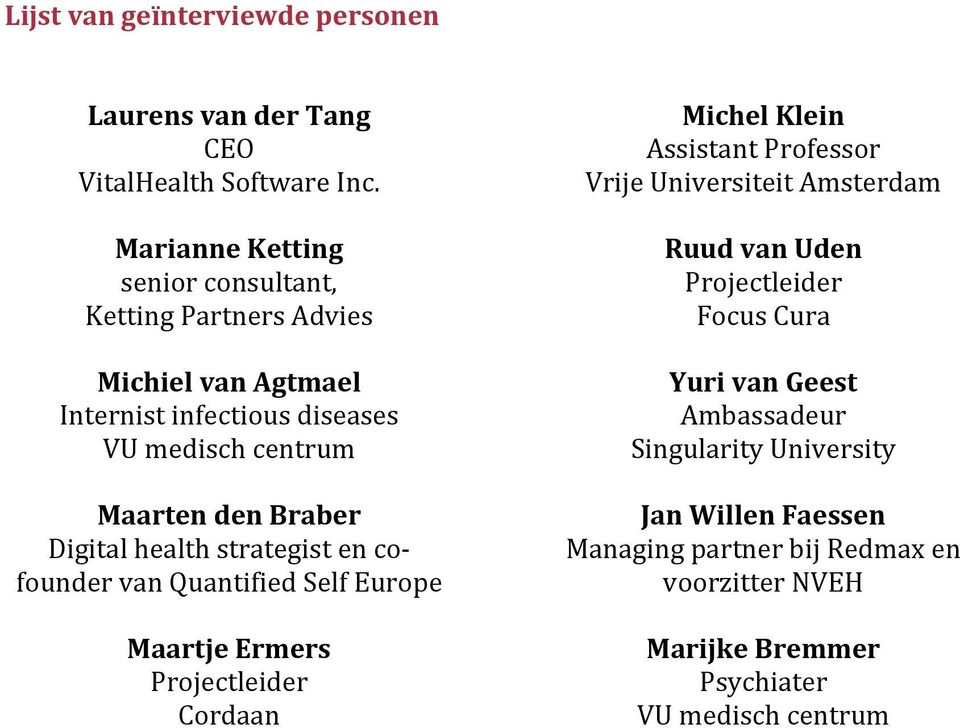 Digital health strategist en co- founder van Quantified Self Europe Maartje Ermers Projectleider Cordaan Michel Klein Assistant Professor Vrije