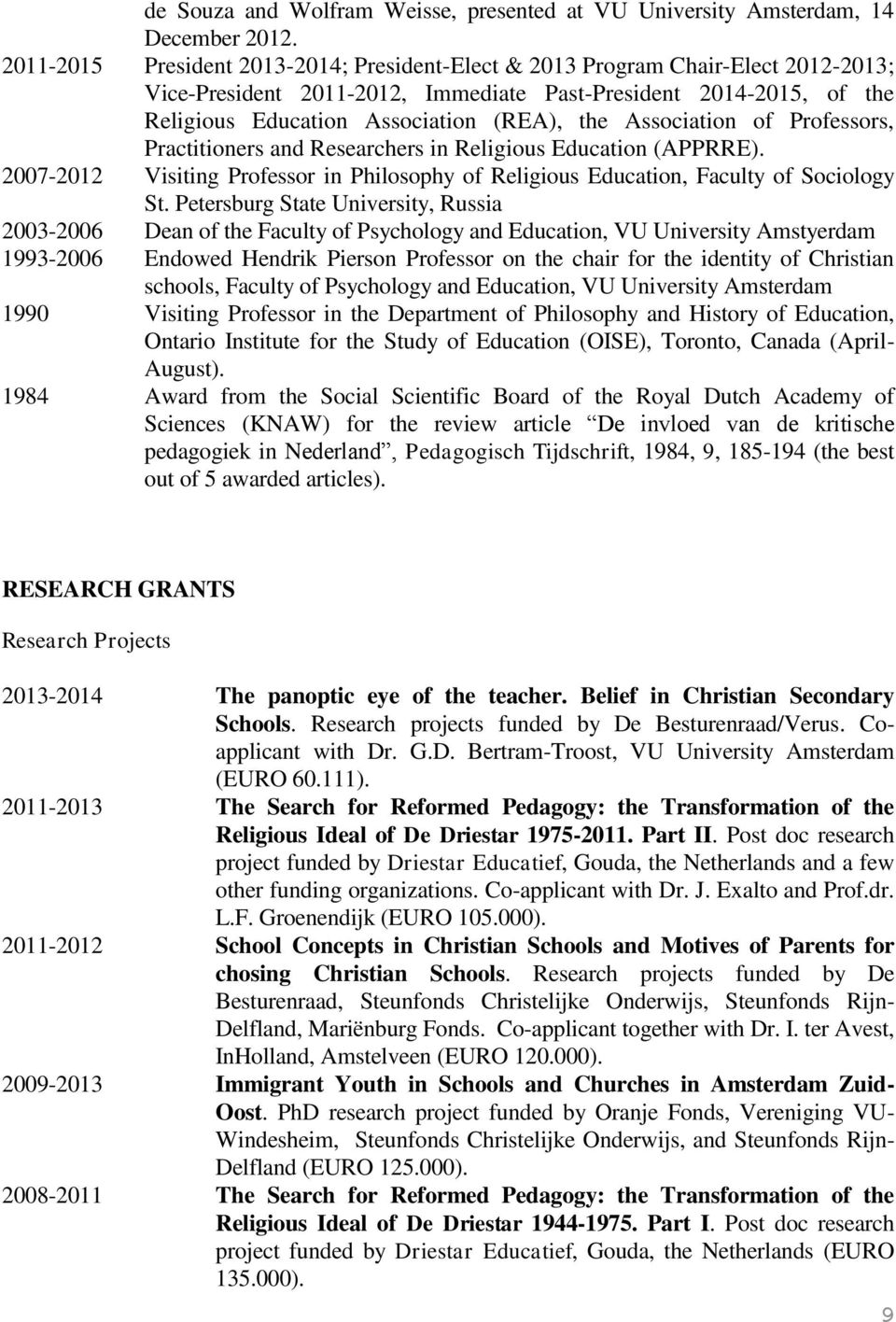Association of Professors, Practitioners and Researchers in Religious Education (APPRRE). 2007-2012 Visiting Professor in Philosophy of Religious Education, Faculty of Sociology St.
