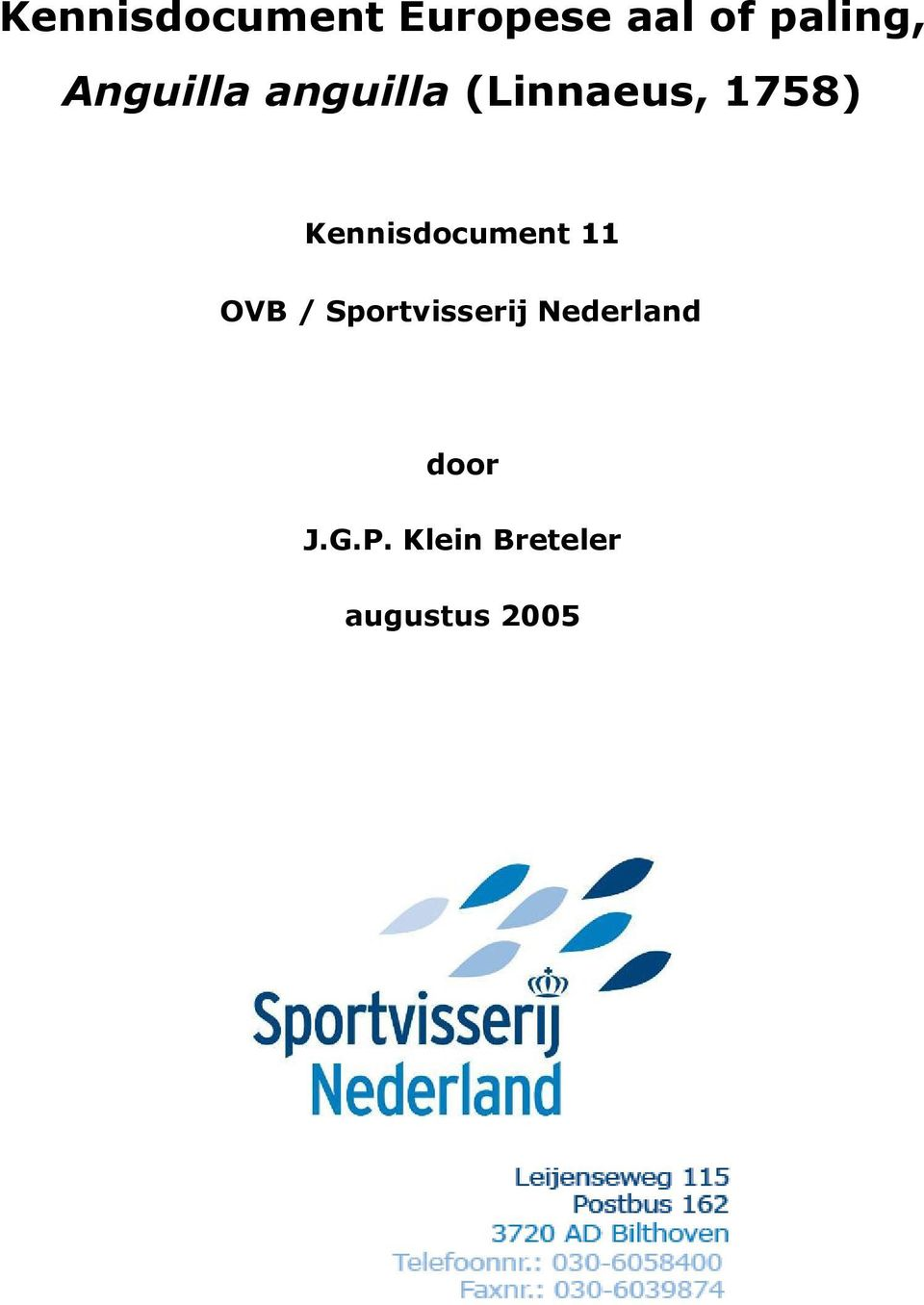Kennisdocument 11 OVB / Sportvisserij