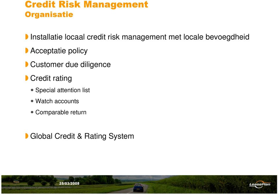 diligence Credit rating Special attention list Watch