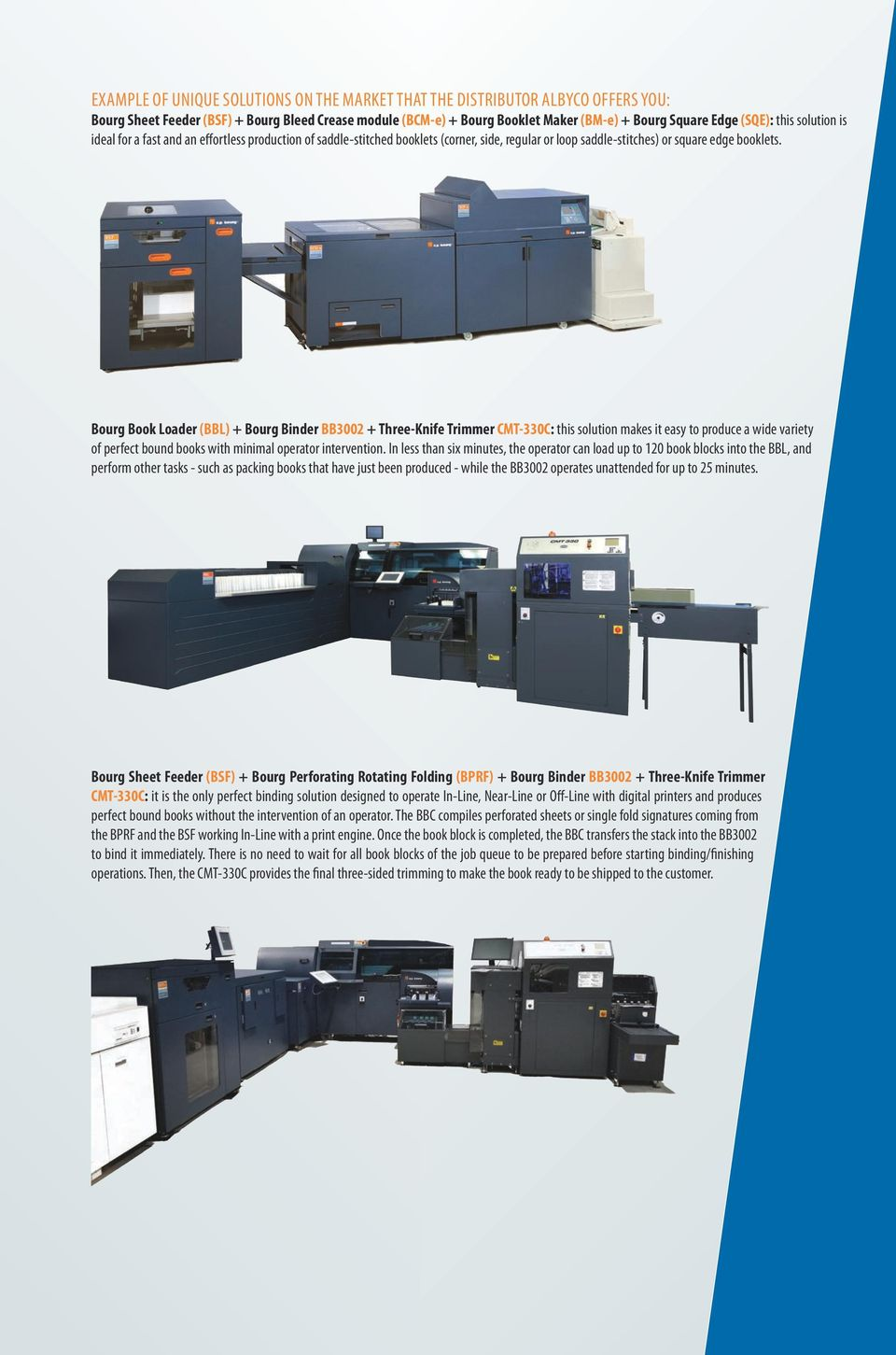 Bourg Book Loader (BBL) + Bourg Binder BB3002 + Three-Knife Trimmer CMT-330C: this solution makes it easy to produce a wide variety of perfect bound books with minimal operator intervention.