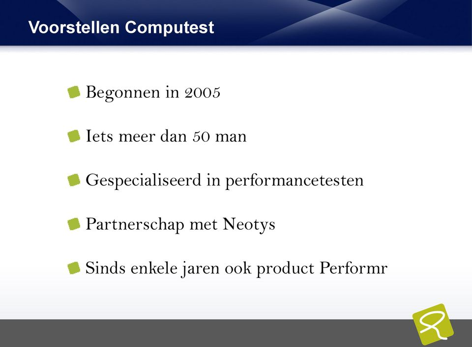 performancetesten Partnerschap met