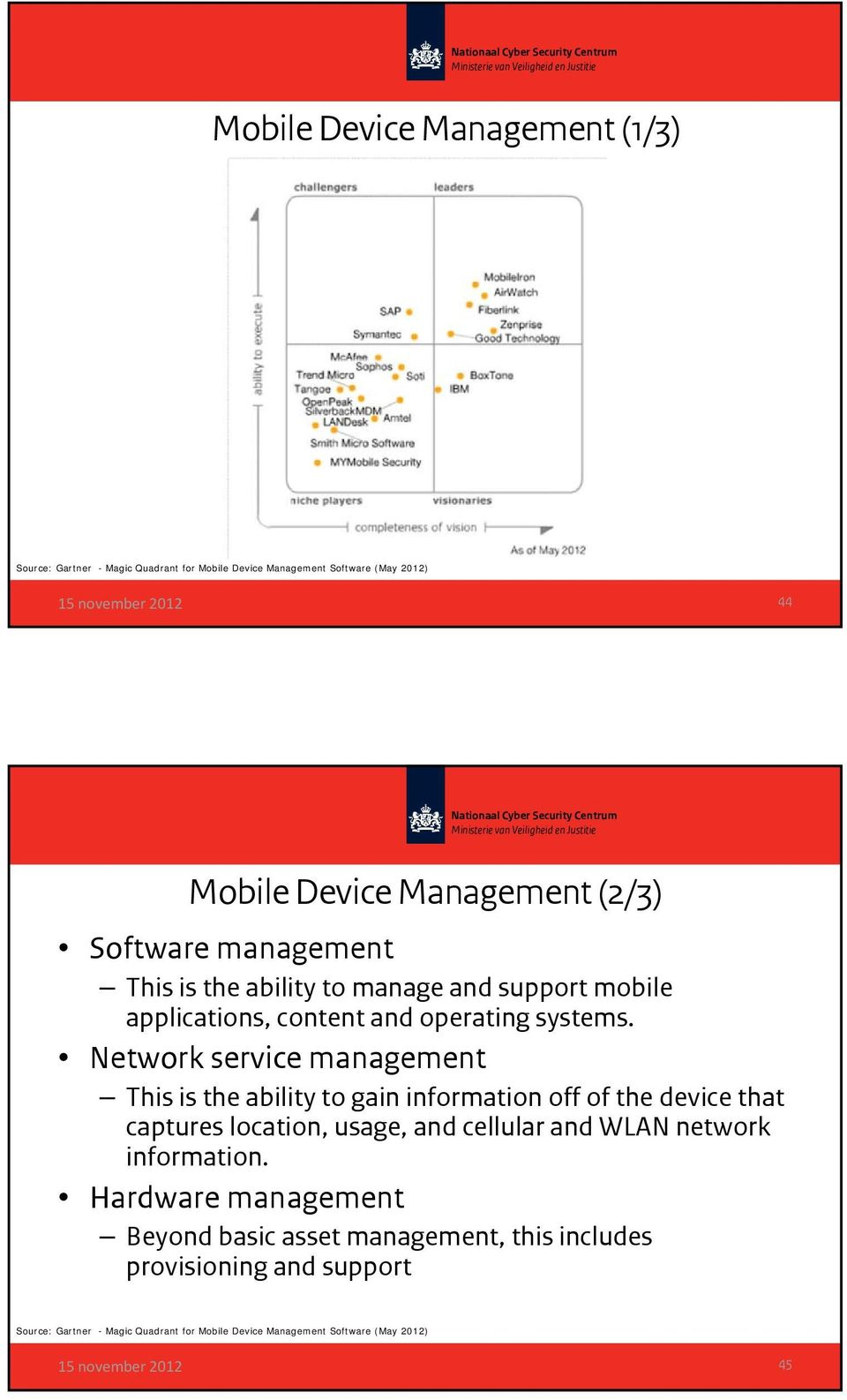 Network service management This is the ability to gain information off of the device that captures location, usage, and cellular and WLAN network