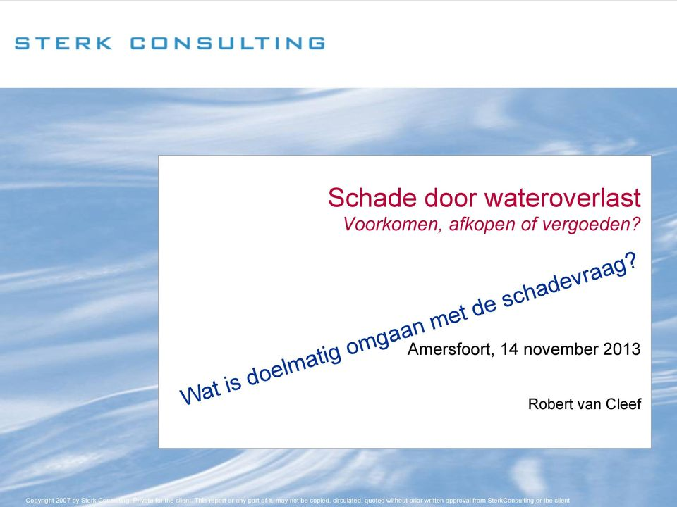 Robert van Cleef Copyright 2007 by Sterk Consulting. Private for the client.