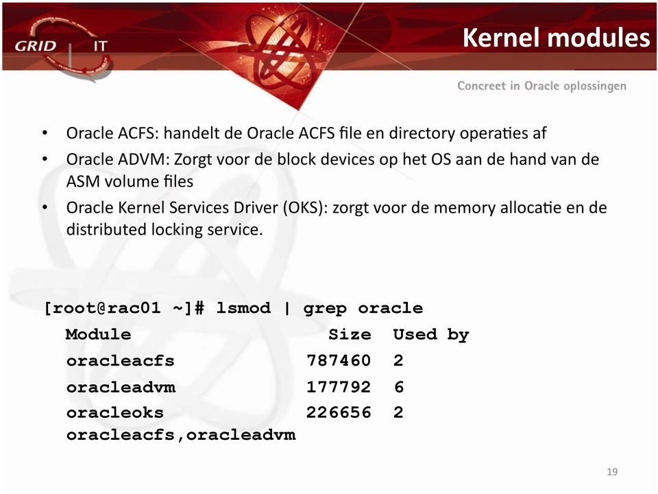 (OKS): zorgt voor de memory allocaoe en de distributed locking service.