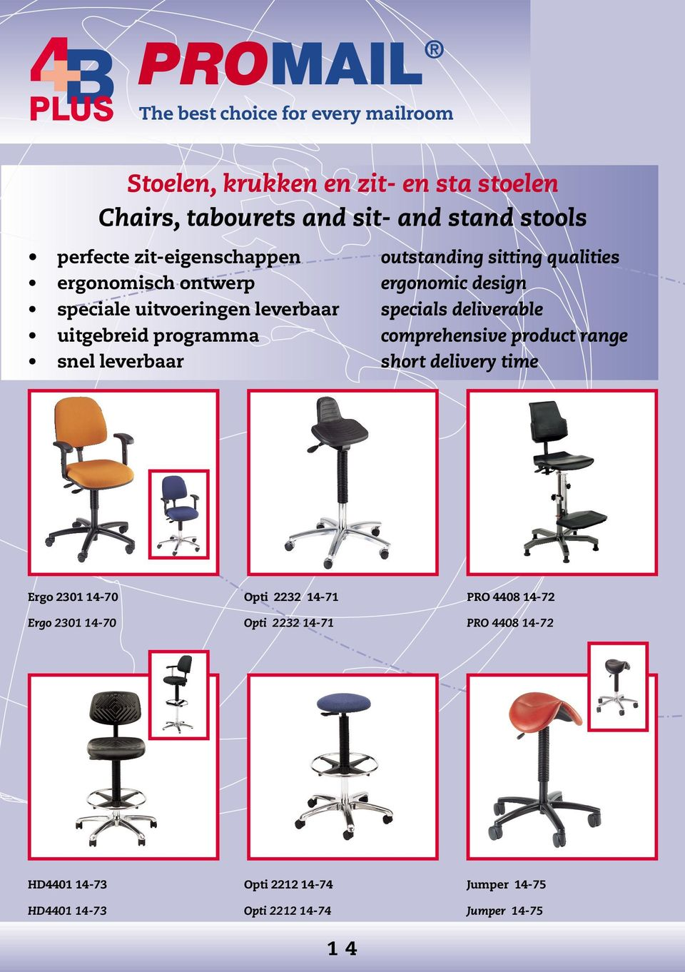 programma comprehensive product range snel leverbaar short delivery time Ergo 2301 14-70 Opti 2232 14-71 PRO 4408 14-72